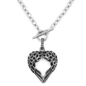 BRUNOshop.cz S1629 Dámský náhrdelník ANDĚLSKÉ SRDCE BLACK