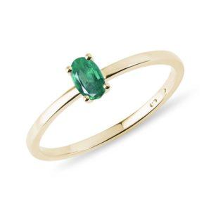 Minimalistický prsten se smaragdem ve zlatě KLENOTA