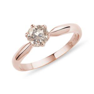 Prsten z růžového zlata s champagne diamantem KLENOTA