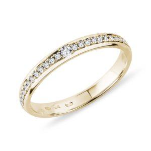 Dámský prsten ze žlutého zlata s diamanty KLENOTA