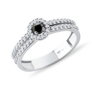 Diamantový prsten z bílého zlata s černým diamantem KLENOTA